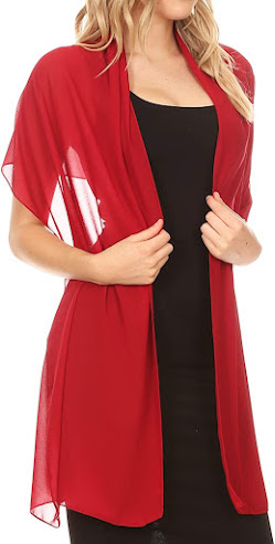 Long Red Chiffon Scarves