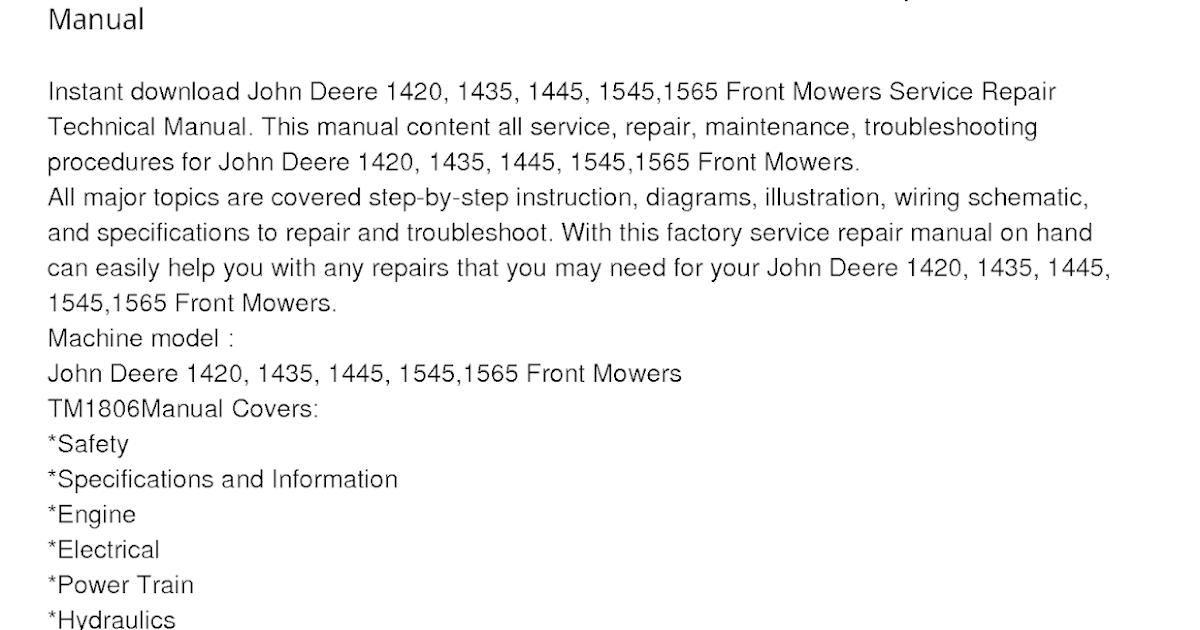 John Deere 1420 Front Mowers Manual
