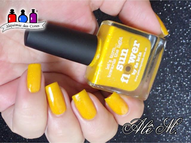 Picture Polish, Sunflower, de briz, yellow, amarelo, holografico, la femme, preto, carimbado, EDA 04, Alê M.