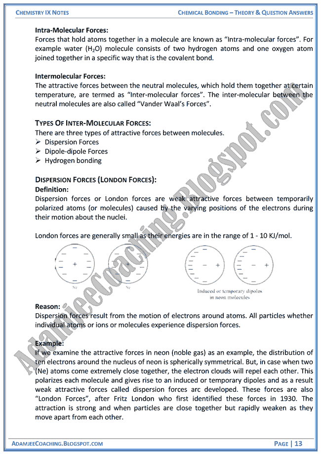 Adamjee Coaching: Chemical Bonding - Theory Notes and