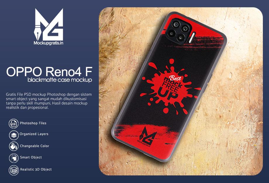 PSD Mockup Blackmatte Case OPPO Reno4 F