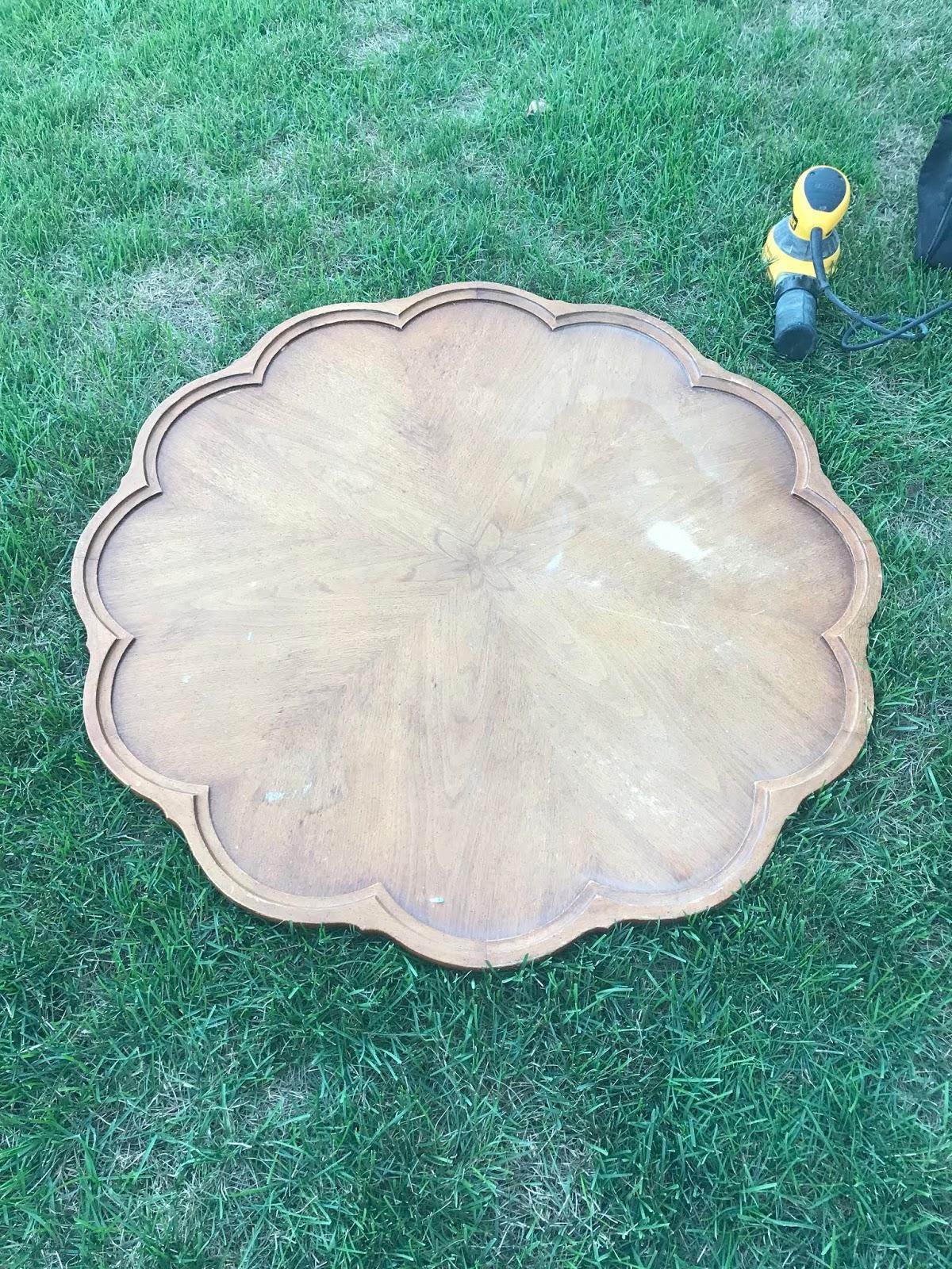 sanding a coffee table