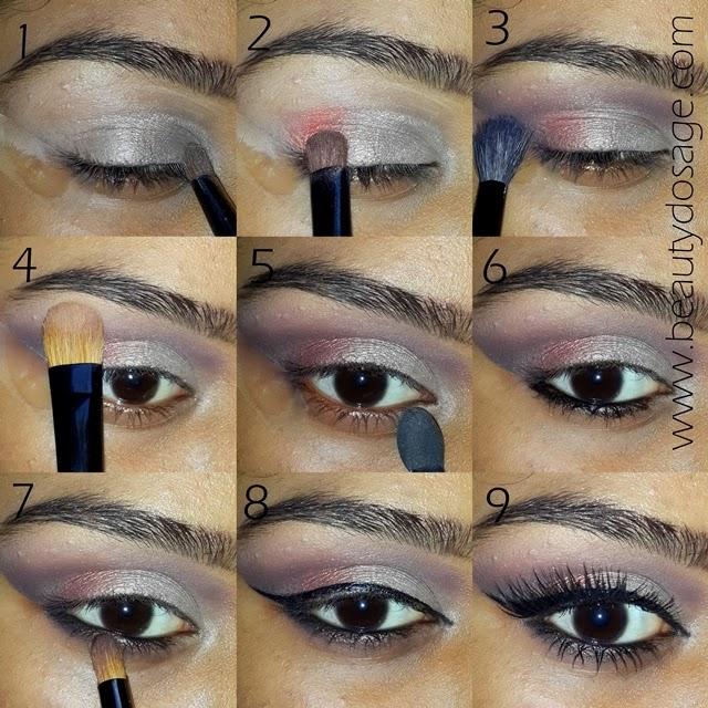Applying eye makeup step by step