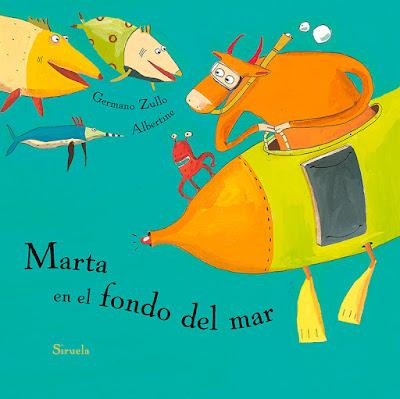 Portada del álbum ilustrado de Albertine Marta en el fondo del mar