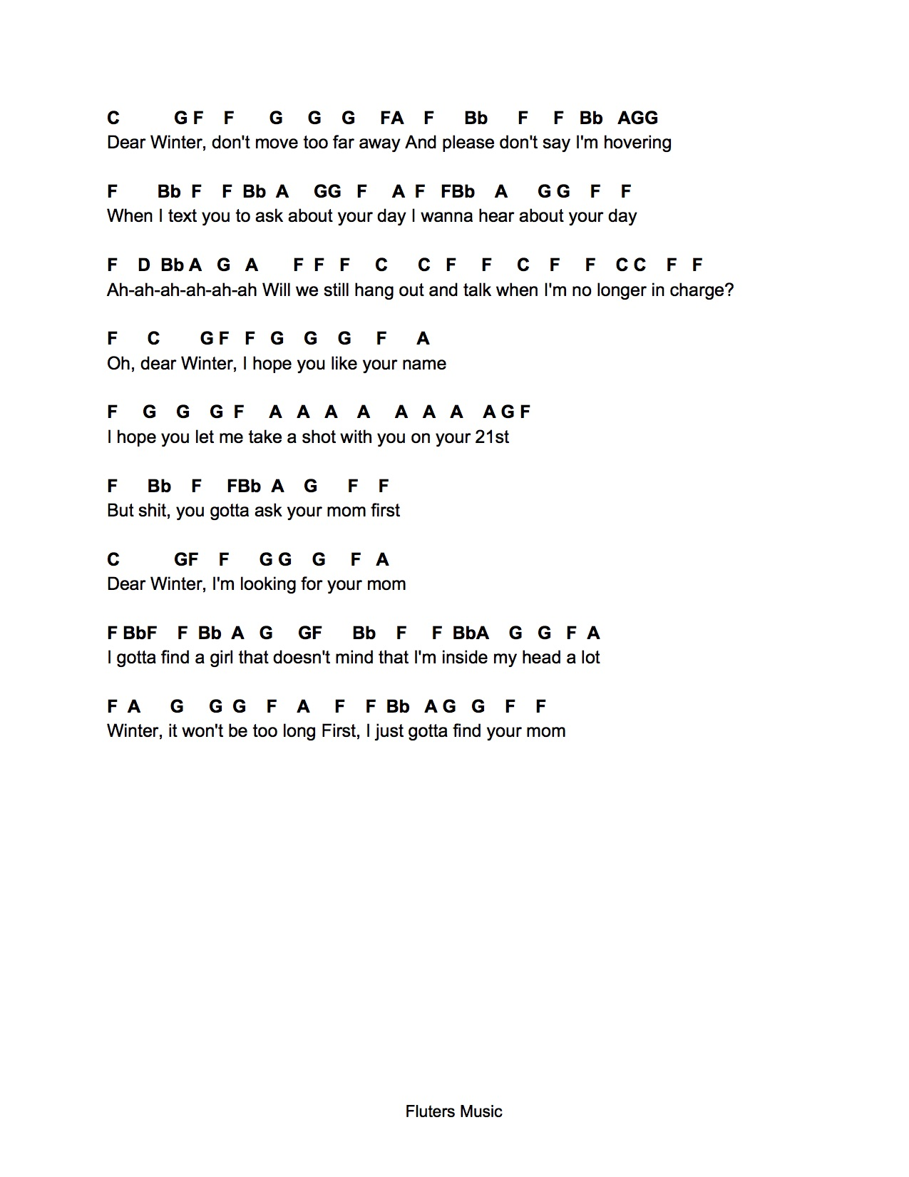 Flute Sheet Music Dear Winter Free and guaranteed quality tablature with ukulele chord charts, diagrams, transposer and auto scroller. flute sheet music dear winter