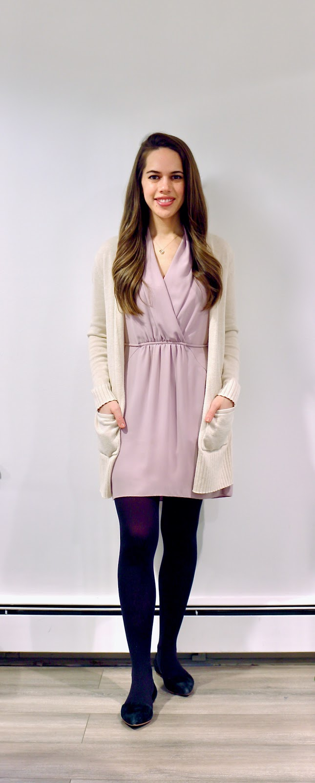 Jules in Flats - Aritzia Sabine Dress with Long Cardigan (Business Casual Winter Workwear on a Budget)