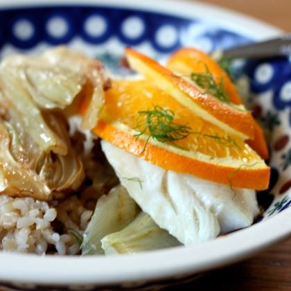 Orange-Scented White Fish with Caramelized Fennel
