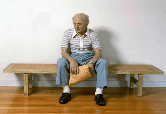 Duane-Hanson-idoso-Pensativo