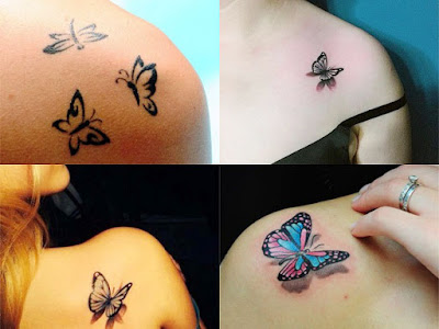 Small tattoos of butterflies on the shoulder For Women