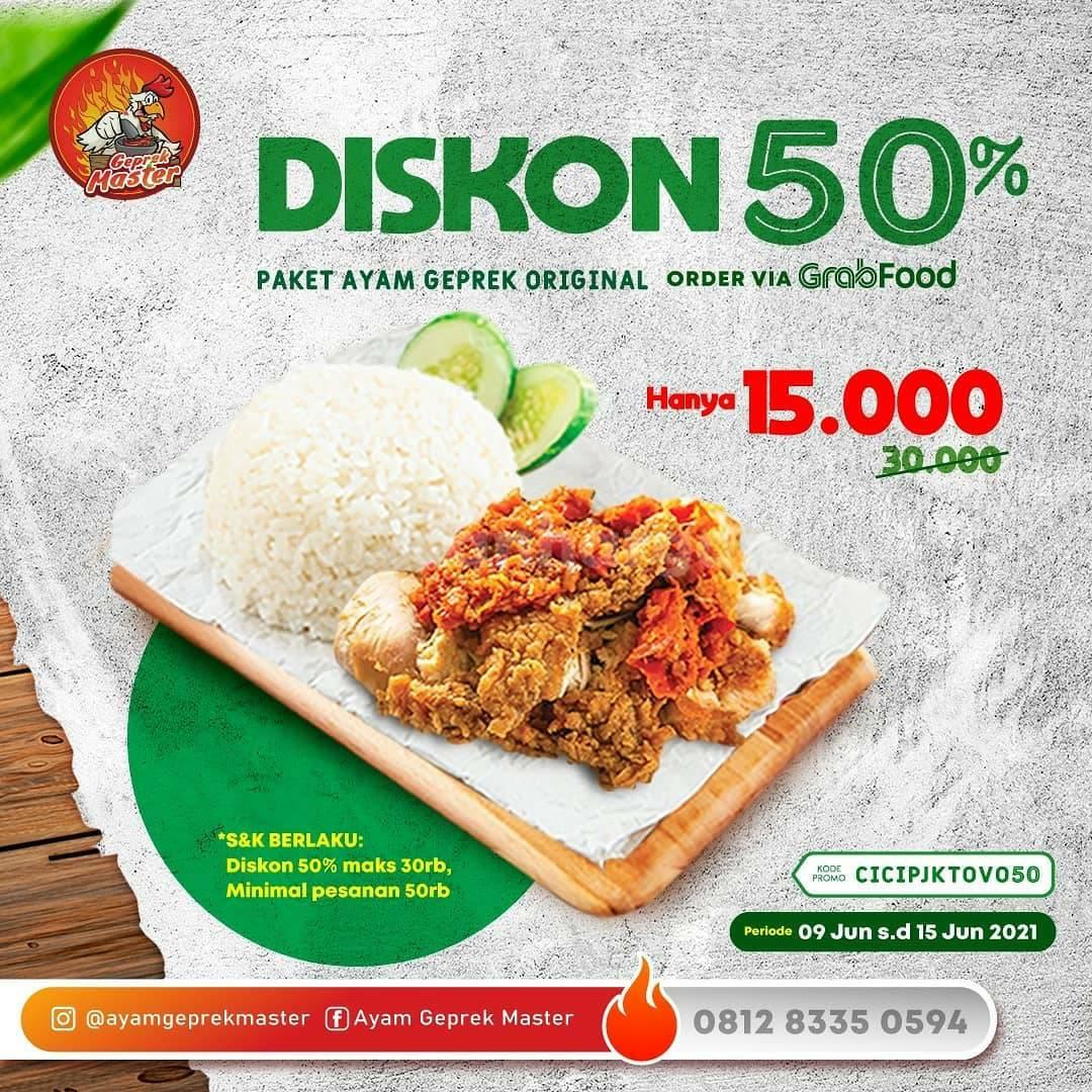 Promo Ayam Geprek Master Diskon 50% order via GRABFOOD