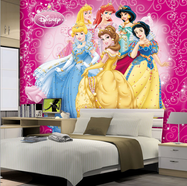 Disney princess wall mural Wallpaper Cartoon Princesses 3D Photo Girls Kids Interior Bedroom Room pink