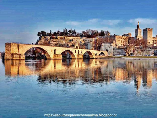 Avignon, cidade murada, localizada na margem esquerda do Rio Ródano