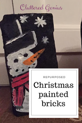 Blog With Friends, a multi-blogger project based post incorporating a theme. December 2017 theme is Celebrate | Repurposed Christmas painted bricks by Lydia of Cluttered Genius | Featured on www.BakingInATornado.com