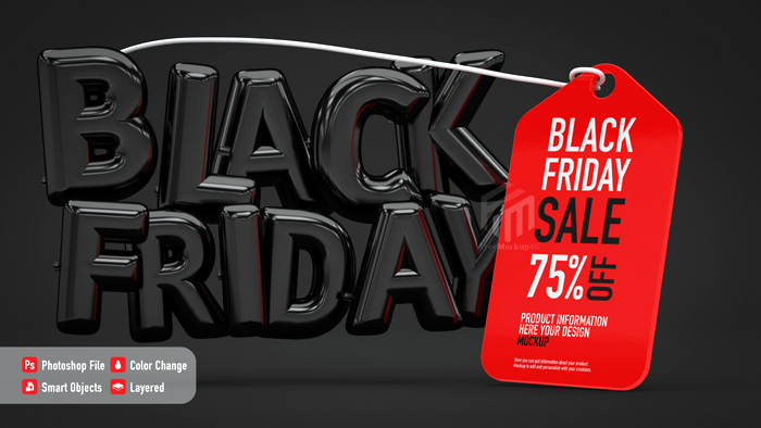 Poster Mockup Black Friday With Balloon Letters Label