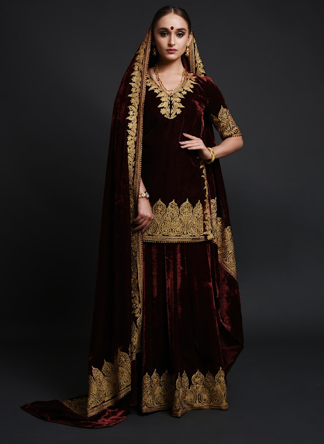 Burgundy Kashmiri Tilla Embroidered Lehenga Outfit INR 52000