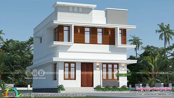 Simple flat roof style house 1292 sq-ft