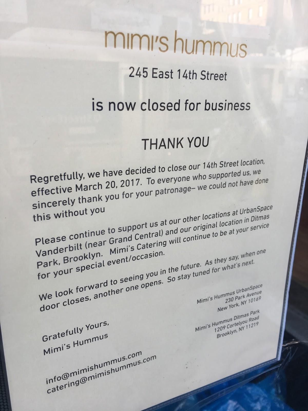 ev grieve mimi s hummus closes on 14th street