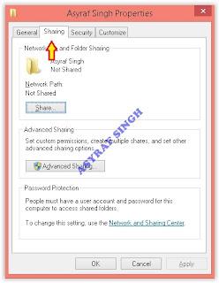 folder properties window