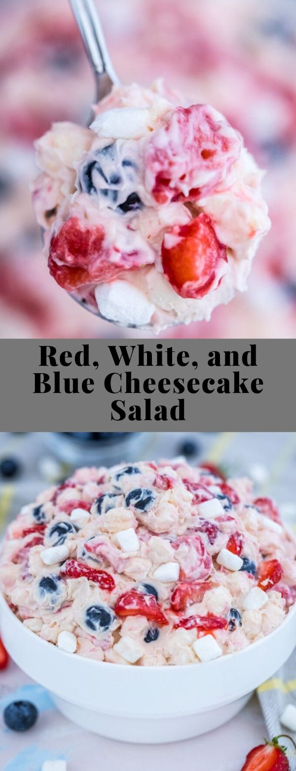 Red, White, and Blue Cheesecake Salad #dessert