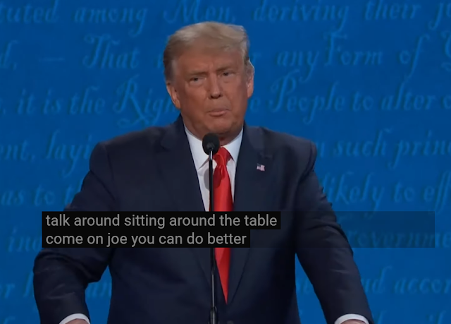 Joe Biden typical politician sitting around the table called out by Donald Trump debate