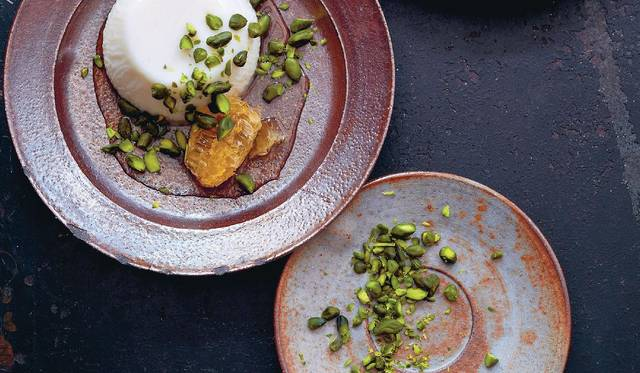 Orange Blossom and Milk Pudding, Pistachios and Honeycomb