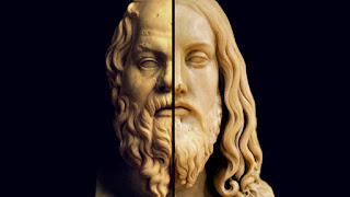 This is a composite picture with the right side of the face of Socrates next to the left side of the face of Jesus - both statues. This picture illustrates how Jesus and Socrates are compared and contrasted in this post.