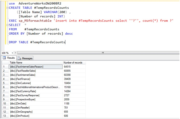 Microsoft Business Intelligence: Get Records counts for ...