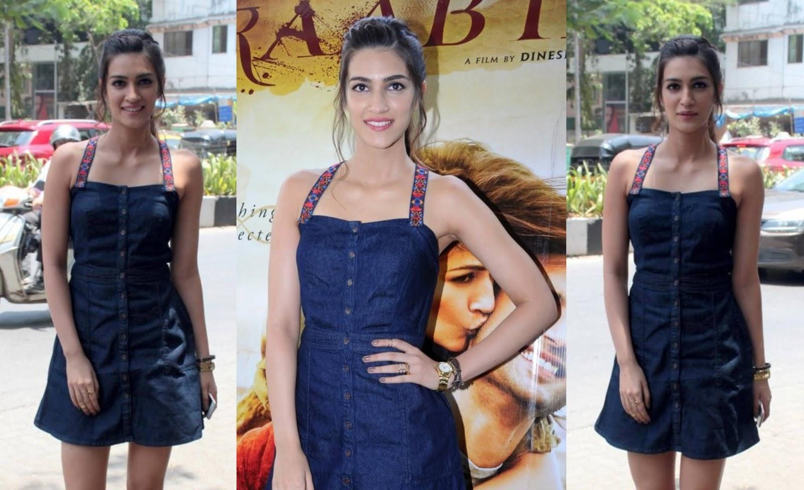Beautiful Indian Girl Kriti Sanon Photo Shoot In Mini Blue Skirt Photos