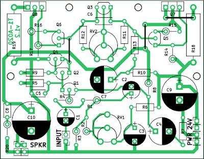 Placa de circuit pentru amplificatorul audio de 10 W