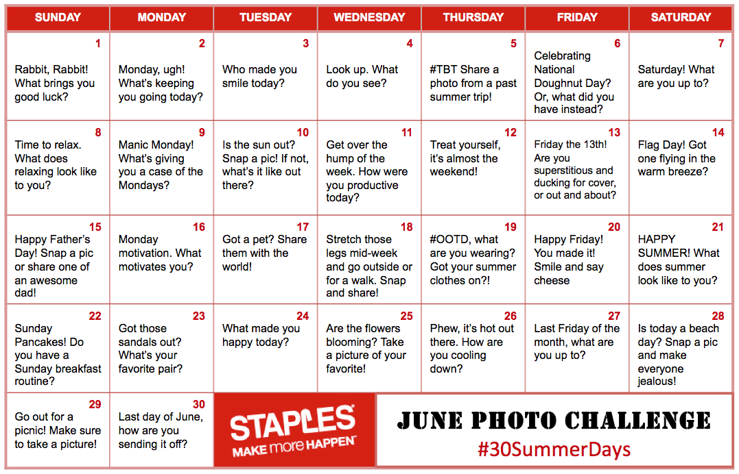 #30SummerDays Staples Canada Photo Challenger
