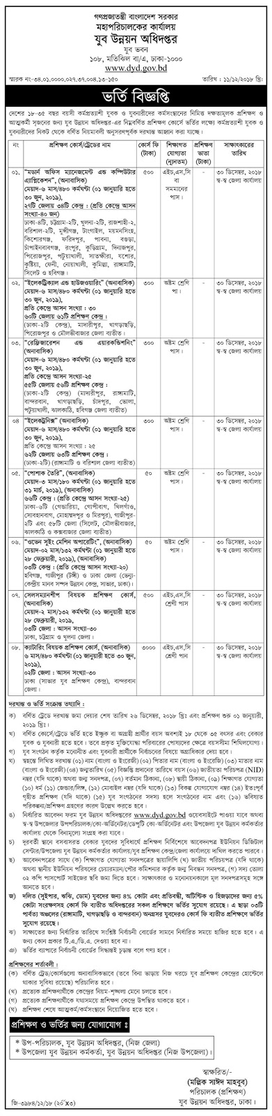 Department of Youth Development (dyd) January-June 2019 Session Admission Circular