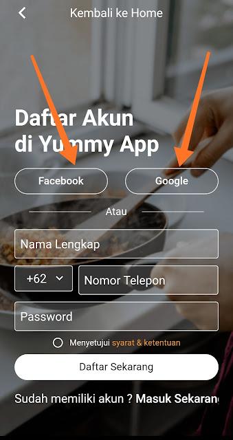 Daftar Akun di Yummy App