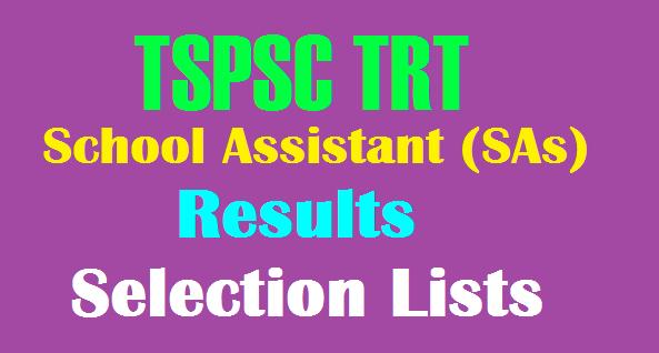 TS TRT School Assistant (SA) Results, Selected Lists