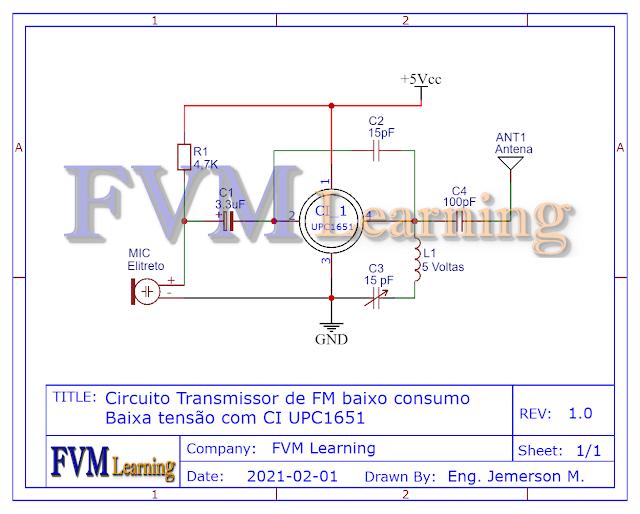 Circuito Transmissor de FM baixo consumo Baixa Tensão com CI UPC1651