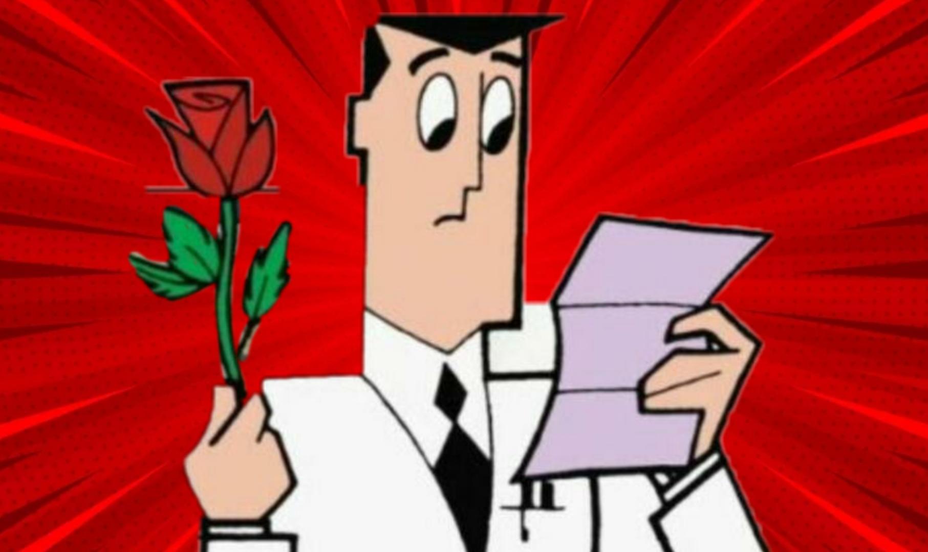 imagem com fundo vermelho, mostra ao centro o Professor Utônio. Ele segura com a mão direita uma rosa, e com a esquerda ele segura uma carta. Seu semblante é de dúvida.