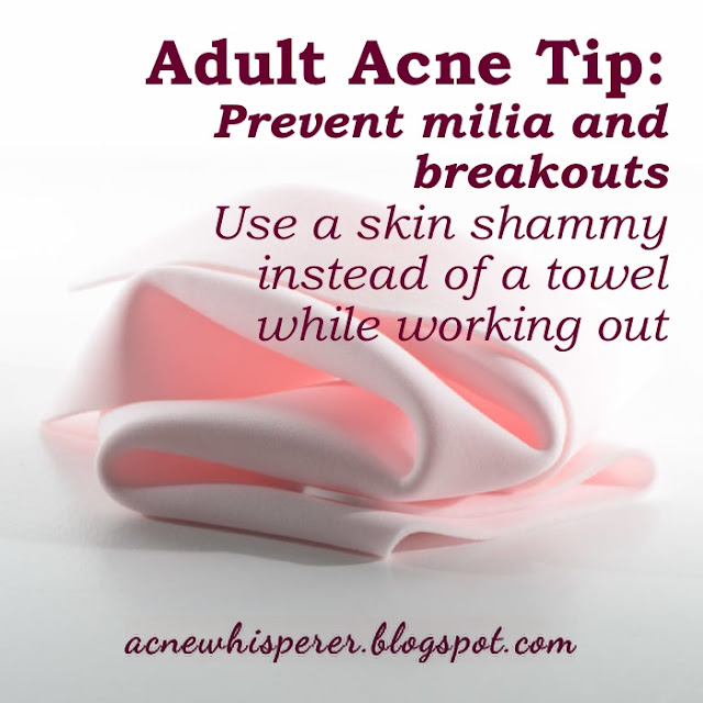Use a skin shammy instead of a towel while working out to prevent breakouts