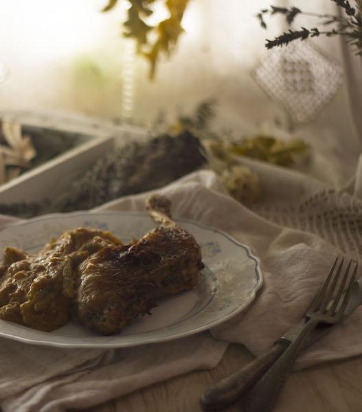 Pollo asado con tagarninas esparragadas