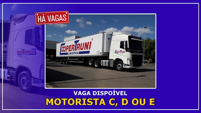 Coopertruni Logística abre vagas para Motorista categoria C, D ou E.