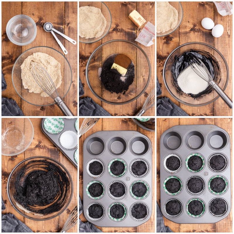 Six photos of the process of making Keto Irish Coffee Cupcakes.