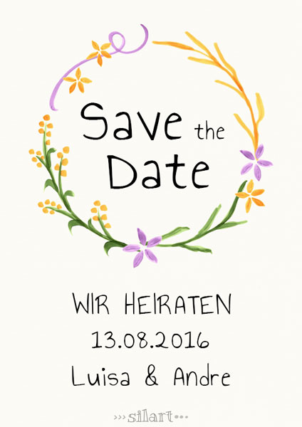 Illustrierte Karte Save the Date, wir heiraten