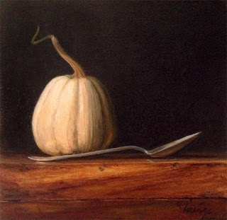 white pumpkin, silver spoon