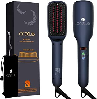 Anti Scald Hair Straightening Brush, Portable Frizz-Free Hair Care Silky Straight Heated Comb