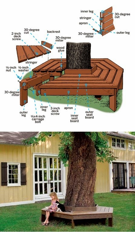 Bench Around Tree Outside Benches DIY Idea 1