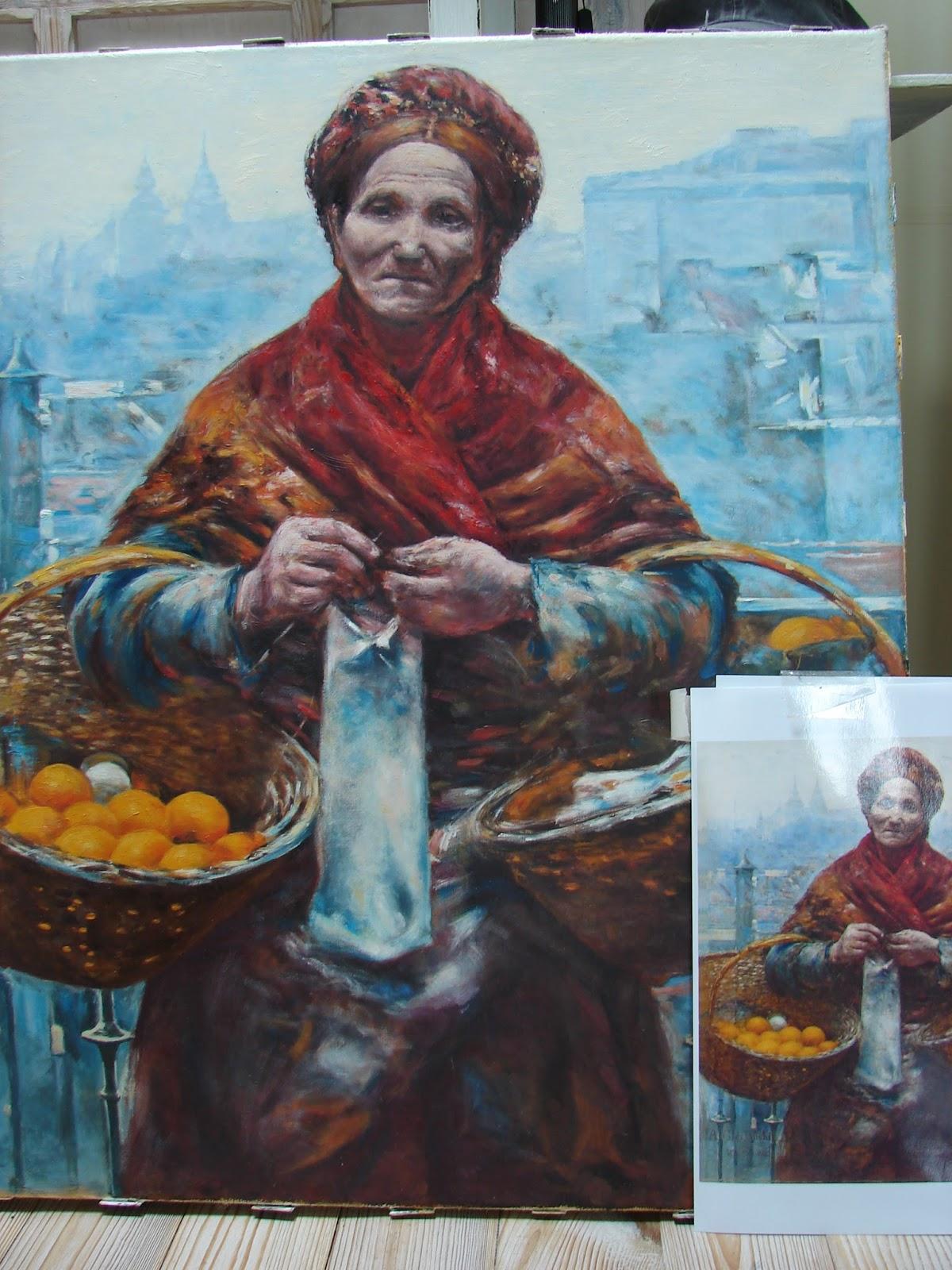 Żydówka z pomarańczami reprodukcja