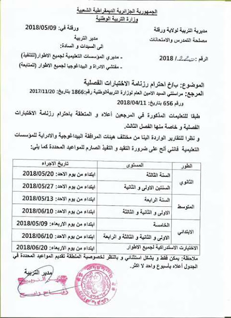 تاريخ اجراء اختبارات الفصل الثالث لكل المستويات 2018