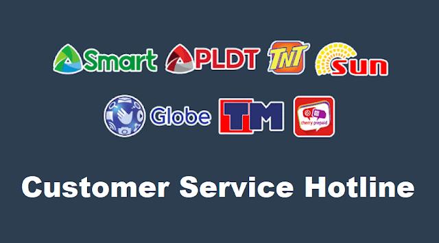 Customer Service Hotline of Smart, PLDT, TNT, Sun, Globe, TM, Cherry Prepaid, DITO