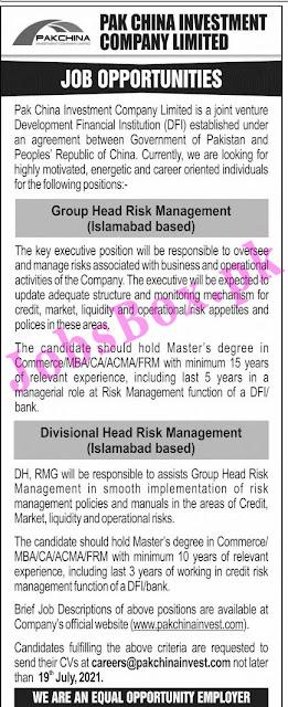 Pak China Investment Company Jobs 2021 – www.pakchinainvest.com