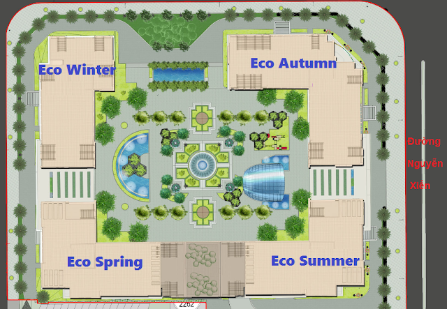 Mặt bằng 4 tòa chung cư Eco Green City