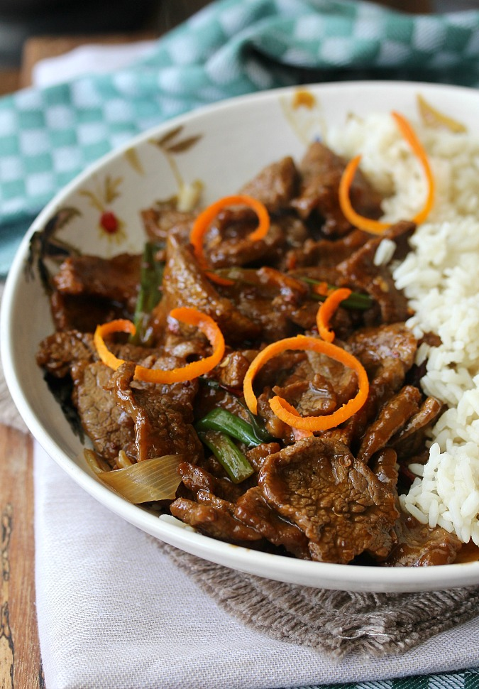 Stir-Fried Crispy Orange Beef with tangerine zest