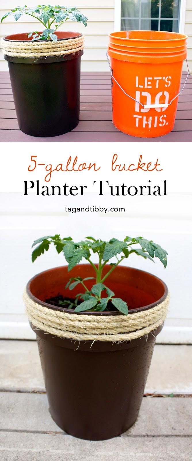 bucket into outdoor planter